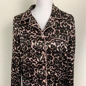 PINK Womens Pajamas Pink/Black Leopard Print